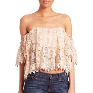 Tularosa Off-the-Shoulder Crochet Lace Amelia Top